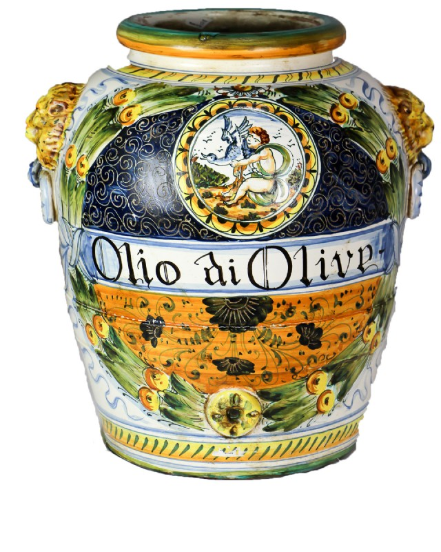 Italian Painted Oil Jug