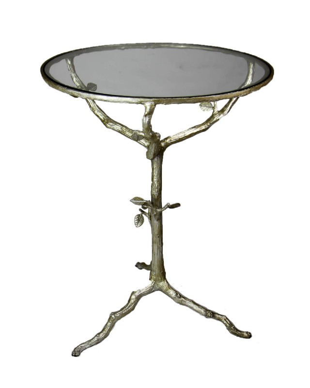 Round Leaf Base Glass Top Table