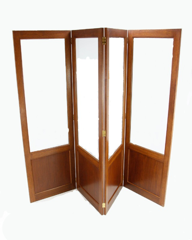 Custom Walnut Beveled Glass Room Divider
