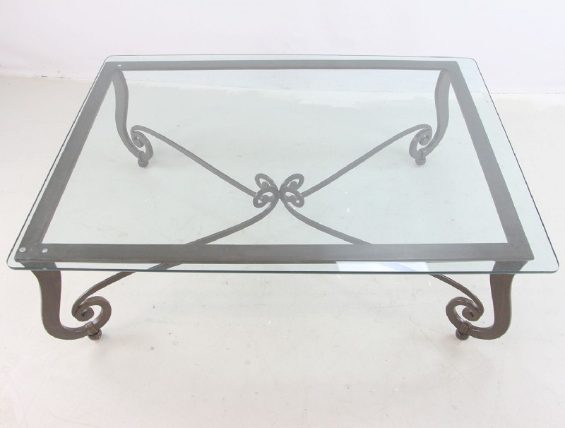 Wrought Iron Coffee Table W/ Glass Top