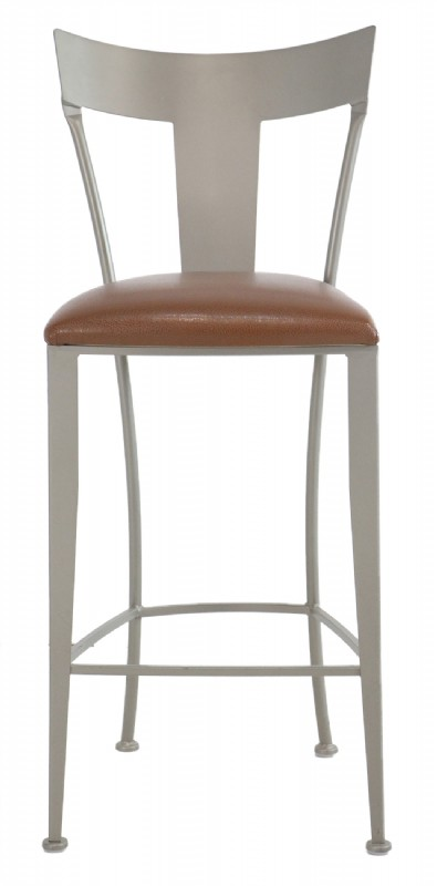 Leather Seat Grey Metal Frame Barstool