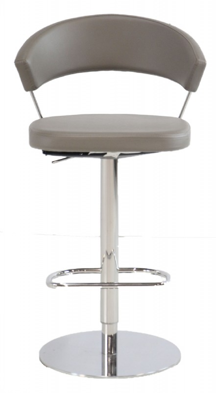 Cool Grey Leather Seat Chrome Frame Counter Bar Stool Caraccident5 Cool Chair Designs And Ideas Caraccident5Info