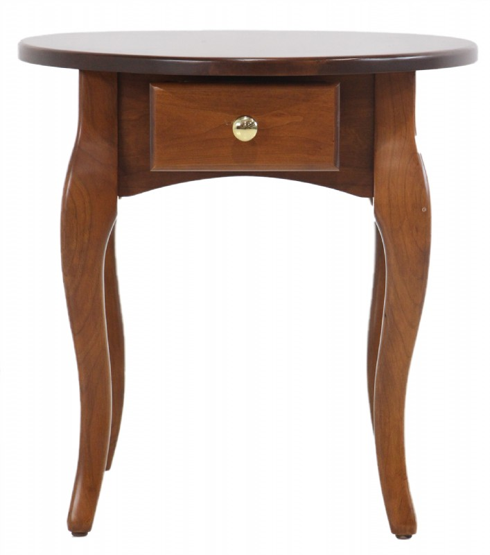 Cherry French Country Oval End Table with Drawer