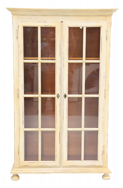 Distressed Painted Glass Door Bookcase