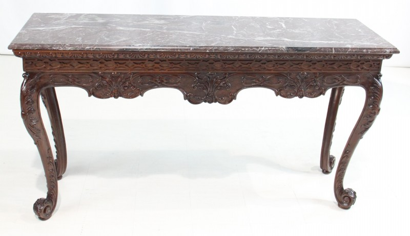 Granite Top Ornate Wooden Frame Console Table