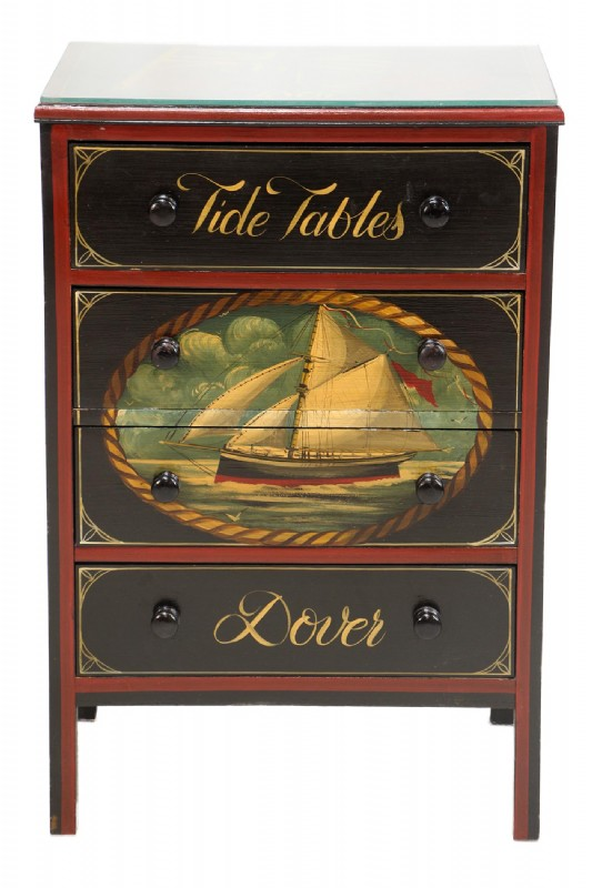 Hand Painted Nautical Tides Chest