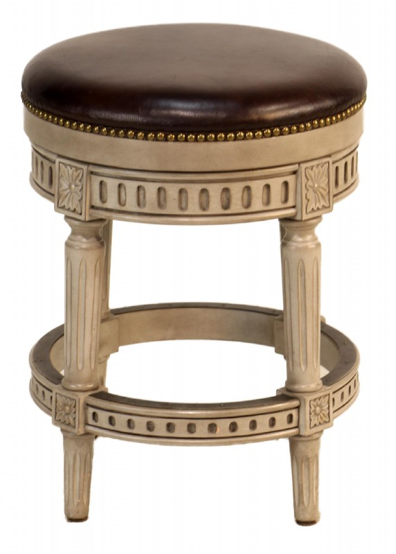 Brown Leather Swivel Stool