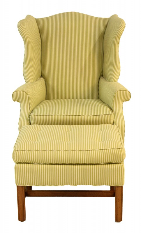 Upholstered Wing Chair & Ottoman