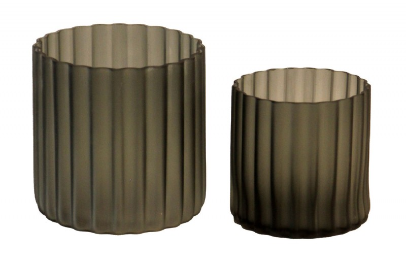 Grey Fluted Candle Vases