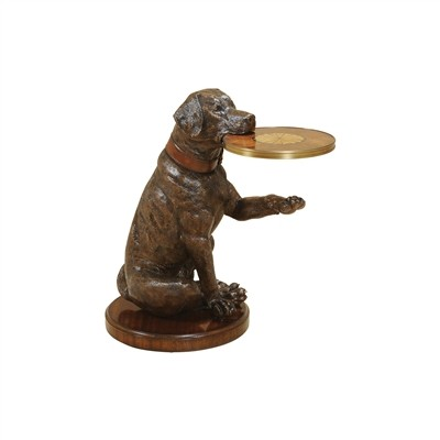 Metallic Brown Finished Cast Resin Dog with Tray