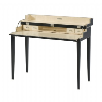An embossed woven leather black campaign desk