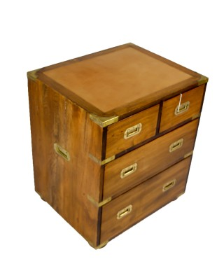 Teak Campaign Chest Leather