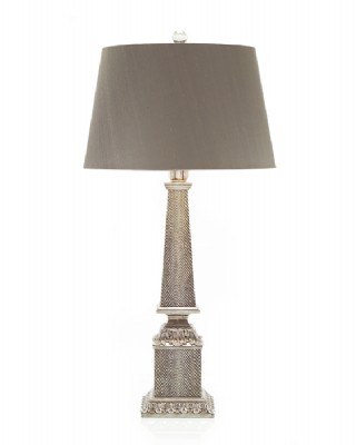 Silver Obelisk Table Lamp