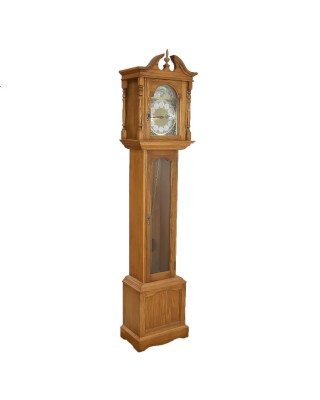 OAK CASE GRANDMOTHER CLOCK