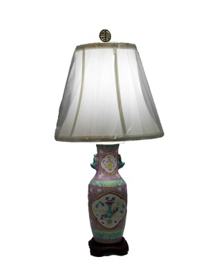 Pink and Green Famille Lamp