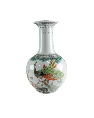Vintage Long Neck Vase with Peacock