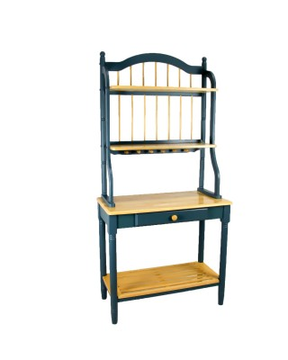 Oak and Blue Wood Bakers Rack