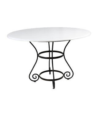 White Wood Table With Iron Base