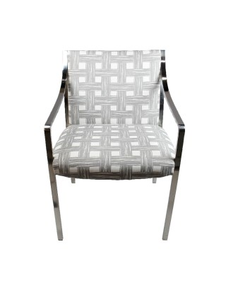 Contemporary Chrome Framed Classic Armchair