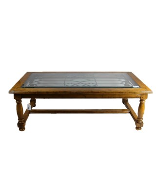 Clear stained glass top coffee table