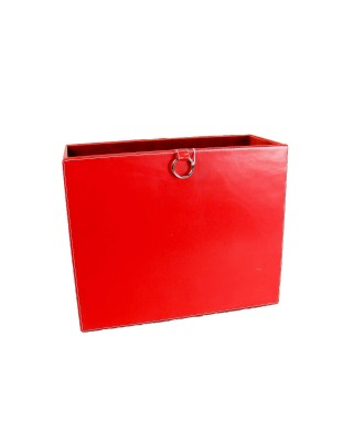 Red Leather Magazine Caddy