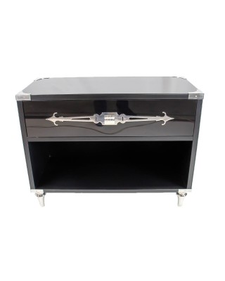 Steel Black Glass Side Table