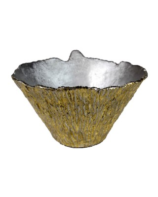 Nickel and Gold Bark Textured Bowl