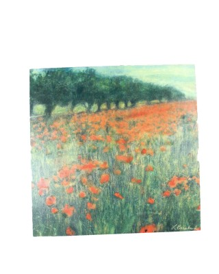 Poppy Field Signed Oil Painting