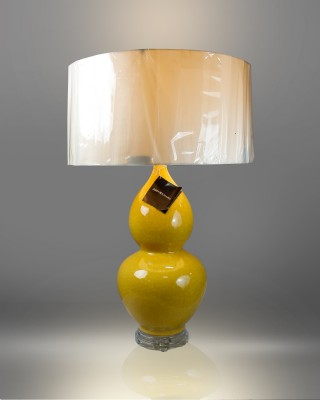 Ocher Double Gourd Ceramic Ocher Table Lamp