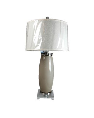 Taupe Cylinder Table Lamp