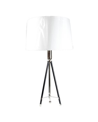 Ebony And Nickel Tripod One-Bulb Table Lamp