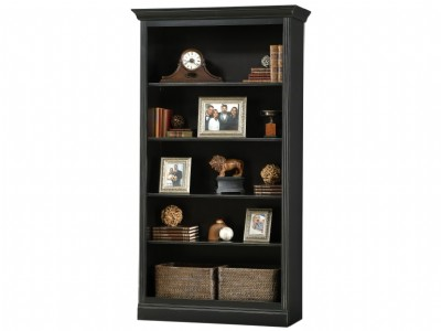 Antique Black Oxford Center Bookcase