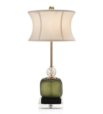 Green Glass Buffet Table Lamp