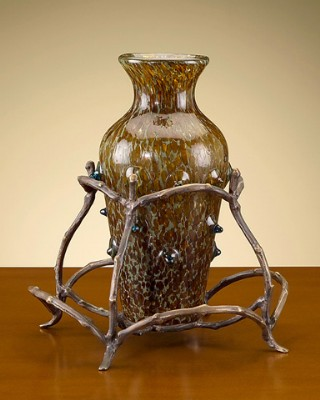 Art Glass Vase with Metal Stand