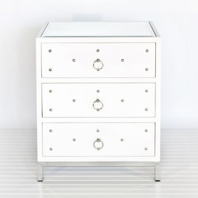 White lacquer 3 draw nightstand