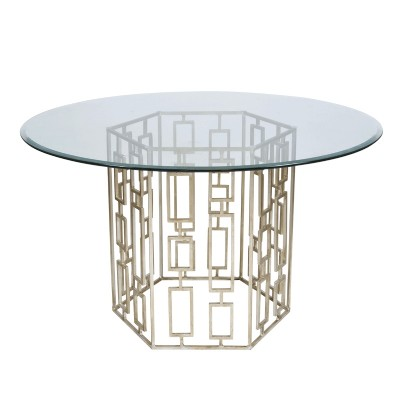 Gold leaf hexagon dining table