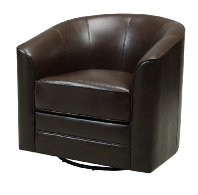 BROWN FAUX LEATHER SWIVEL CHAIR