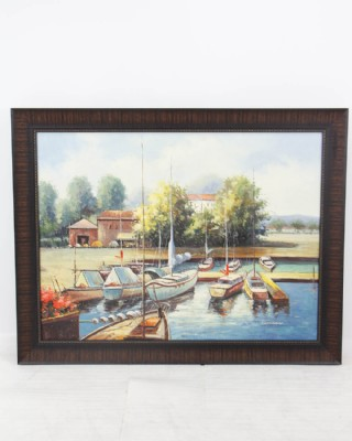 Sailboat Marina Landscape Painting
