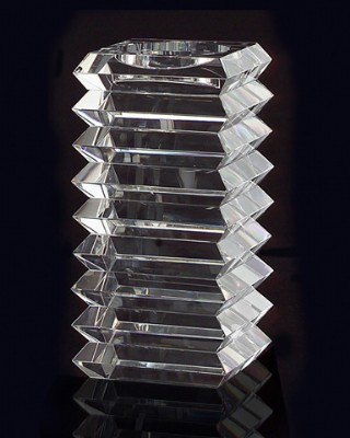 Small Stacked Optical Glass Candle Stand