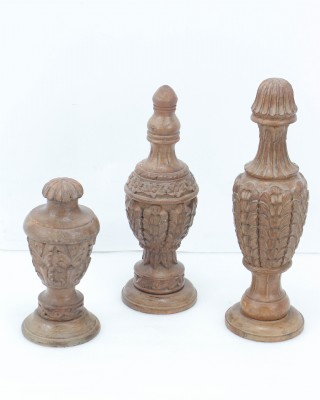 Set of 3 Antique Wood Architectural Urns