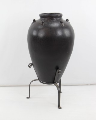Large Ebony Urn on Metal Stand