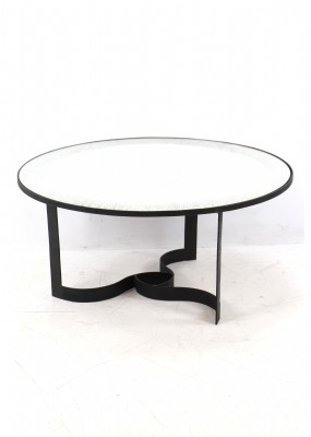 Mirror Top Metal Base Cocktail Table