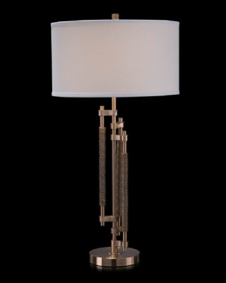 Antique Brass Staggered Rod Table Lamp