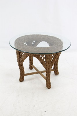 Wicker Side Table W/ Glass Top