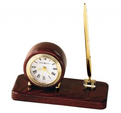 Desk Clock with Brass Pen