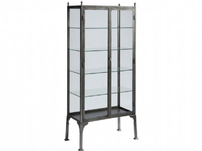Grey Metal Glass Cabinet