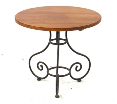 Wrought Iron Table W/ Wood Top
