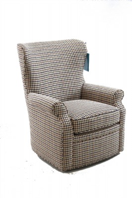 Flared Arm Upholstered Swivel Armchair