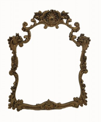 Antique scrolled framed wall mirror