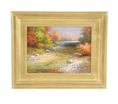 Oil Painting of Brook and Pond